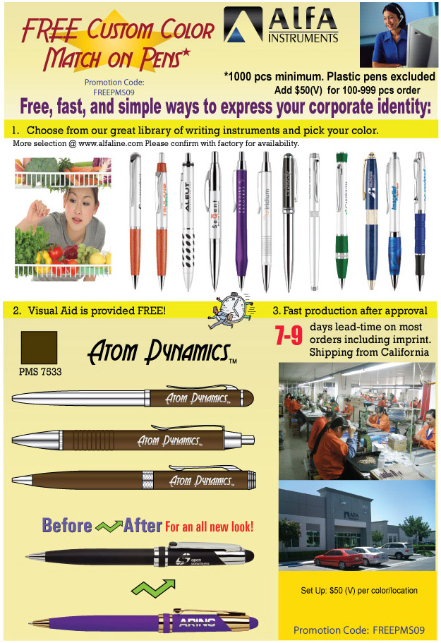 Free Custom Color Match on Pens