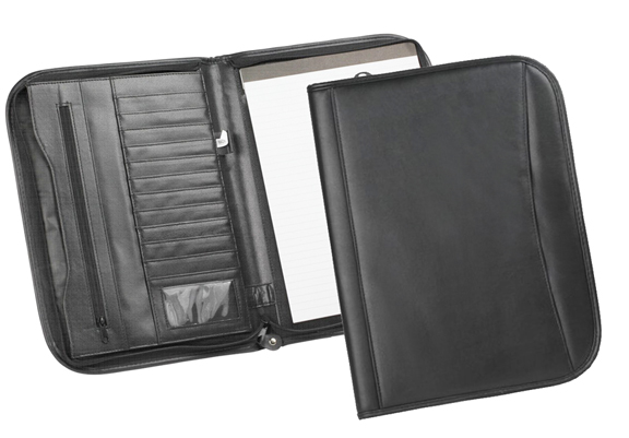 LEATHERETTE ZIPPERED PADFOLIO